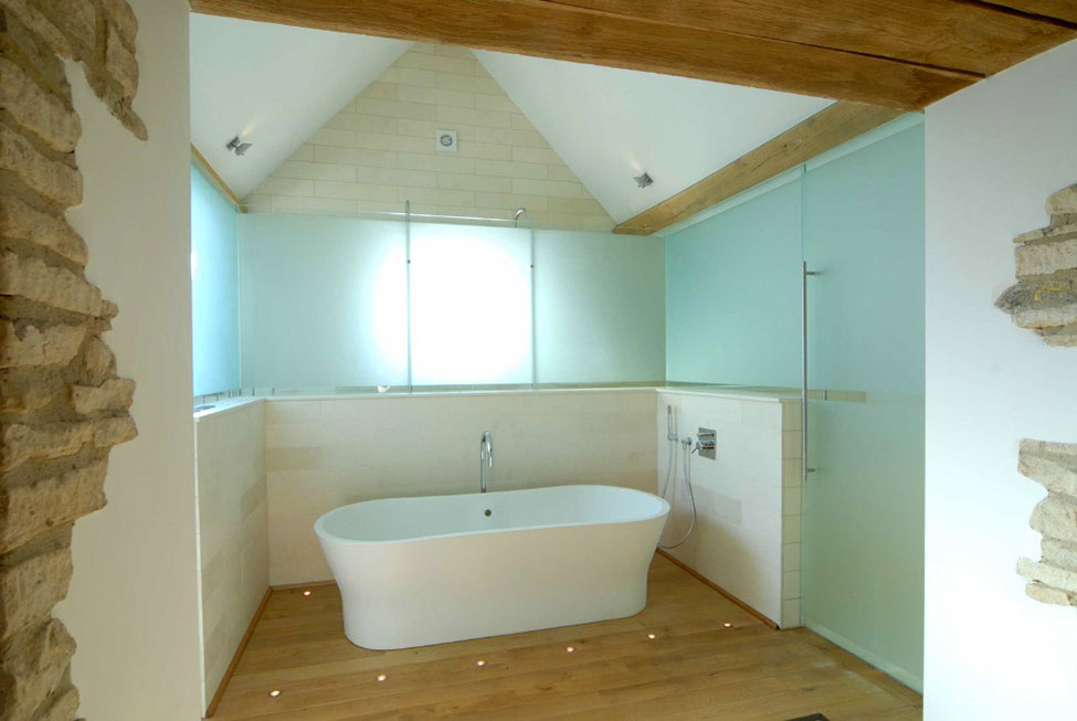 Bathroom, Floor Lighting, 18th-Century Barn Conversion in the Cotswolds, England