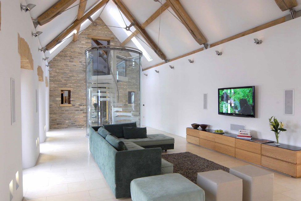 Living Space, Sofa, Glass Spiral Stairs, 18th-Century Barn Conversion in the Cotswolds, England