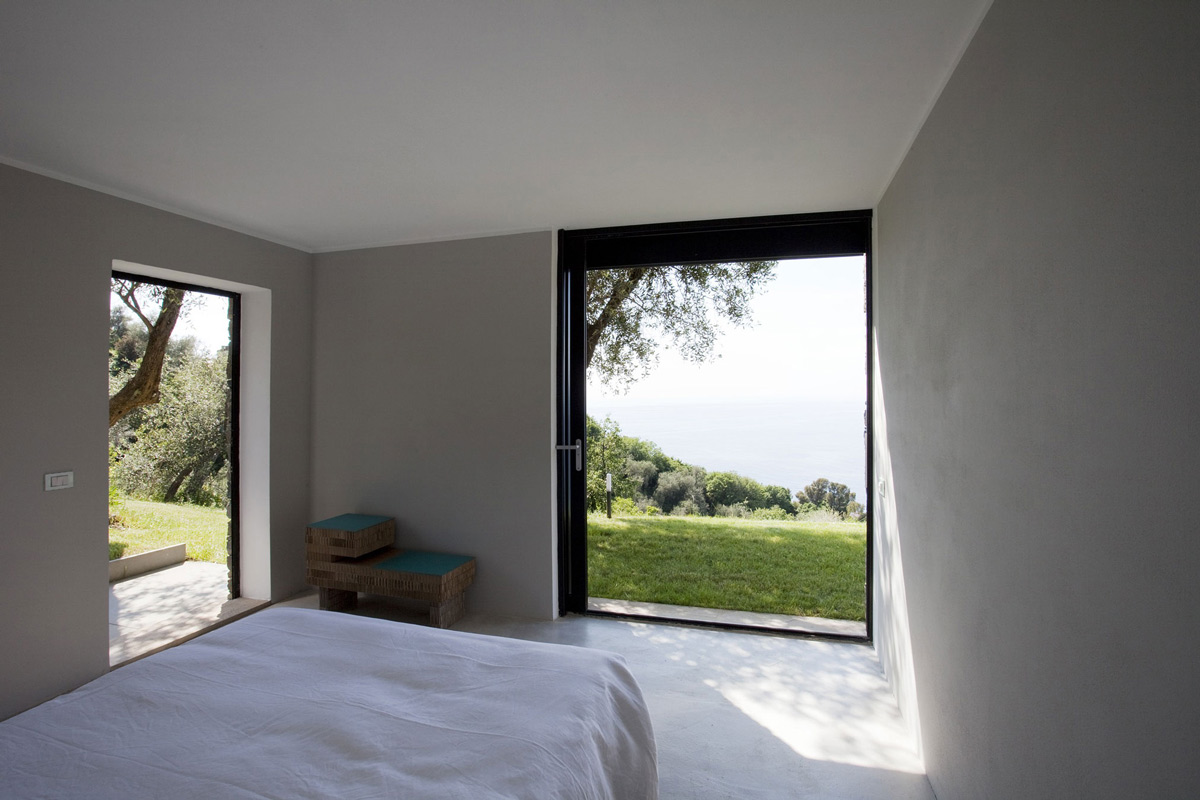 Bedroom, Patio Door, Views, Farmhouse in Riomaggiore, Italy by A2BC Architects and SibillAssociati