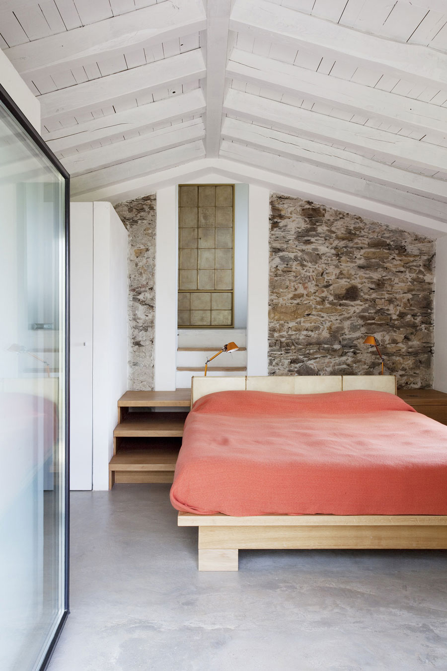 Bedroom, Stone Wall, Farmhouse in Riomaggiore, Italy by A2BC Architects and SibillAssociati