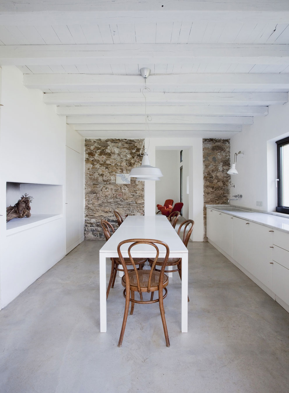 Bright Kitchen, Dining Table, Farmhouse in Riomaggiore, Italy by A2BC Architects and SibillAssociati