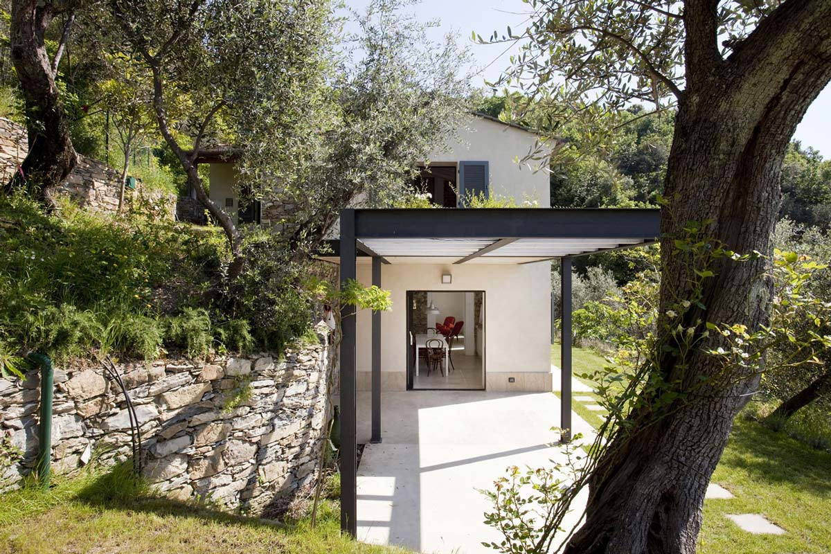 Terrace, Pergola, Farmhouse in Riomaggiore, Italy by A2BC Architects and SibillAssociati