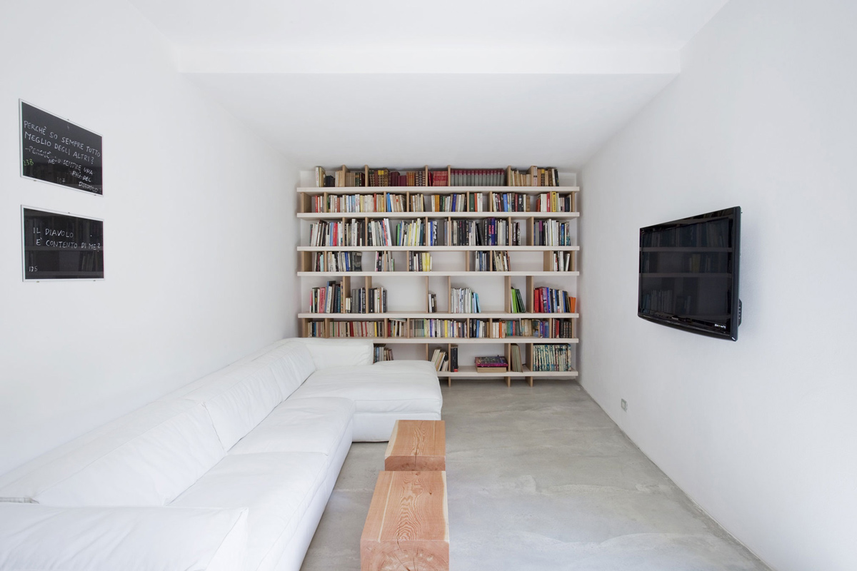 White Sofa, Living Space, Farmhouse in Riomaggiore, Italy by A2BC Architects and SibillAssociati