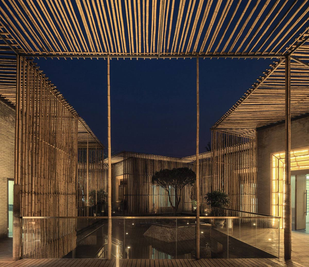Evening, Courtyard, Floating Bamboo Courtyard Teahouse in ShiQiao, China