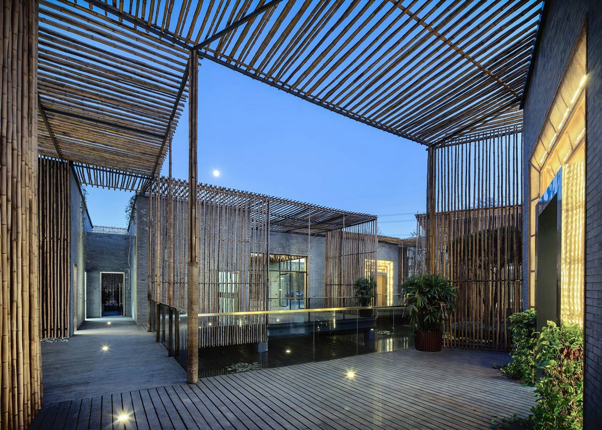Terrace, Courtyard, Floating Bamboo Courtyard Teahouse in ShiQiao, China