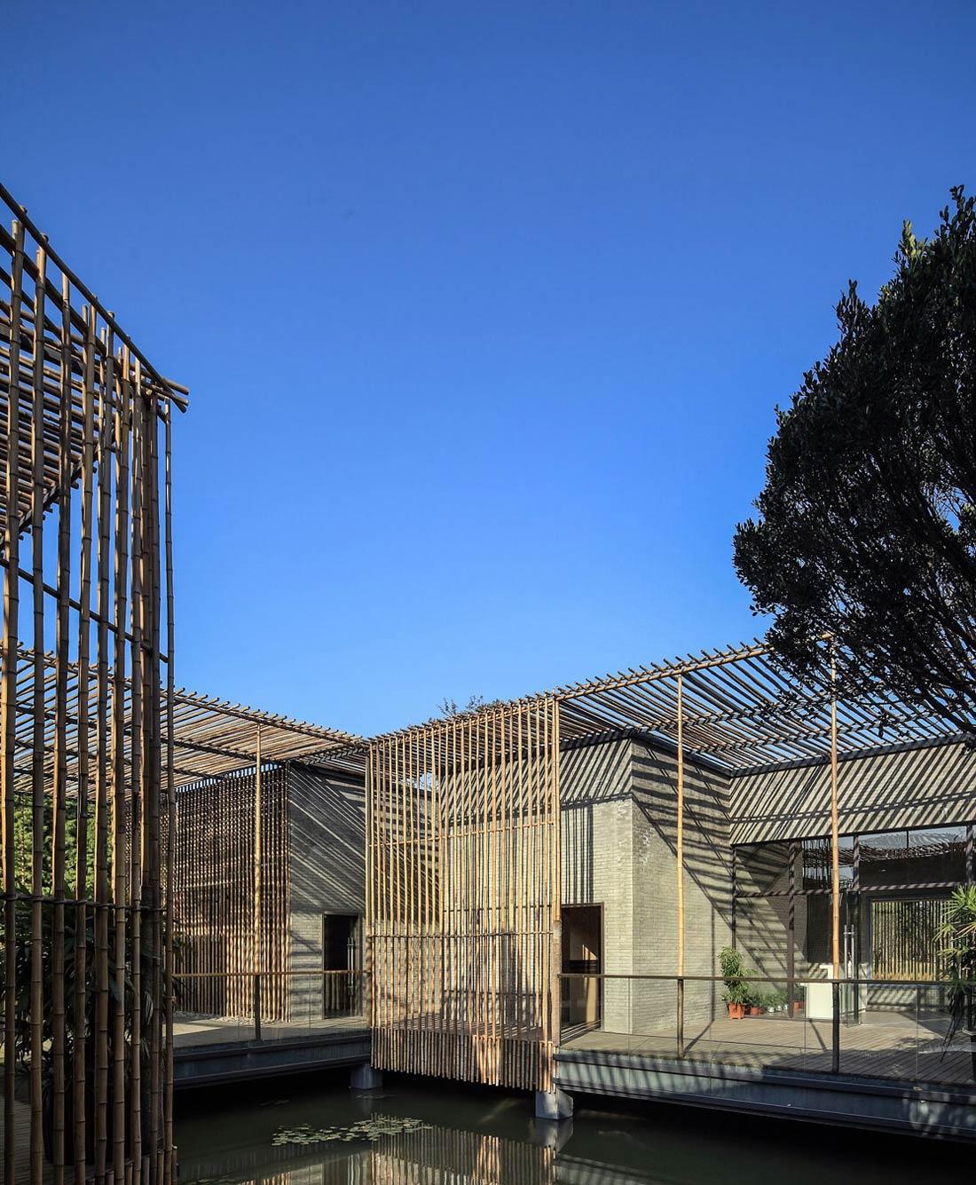 Courtyard, Floating Bamboo Courtyard Teahouse in ShiQiao, China