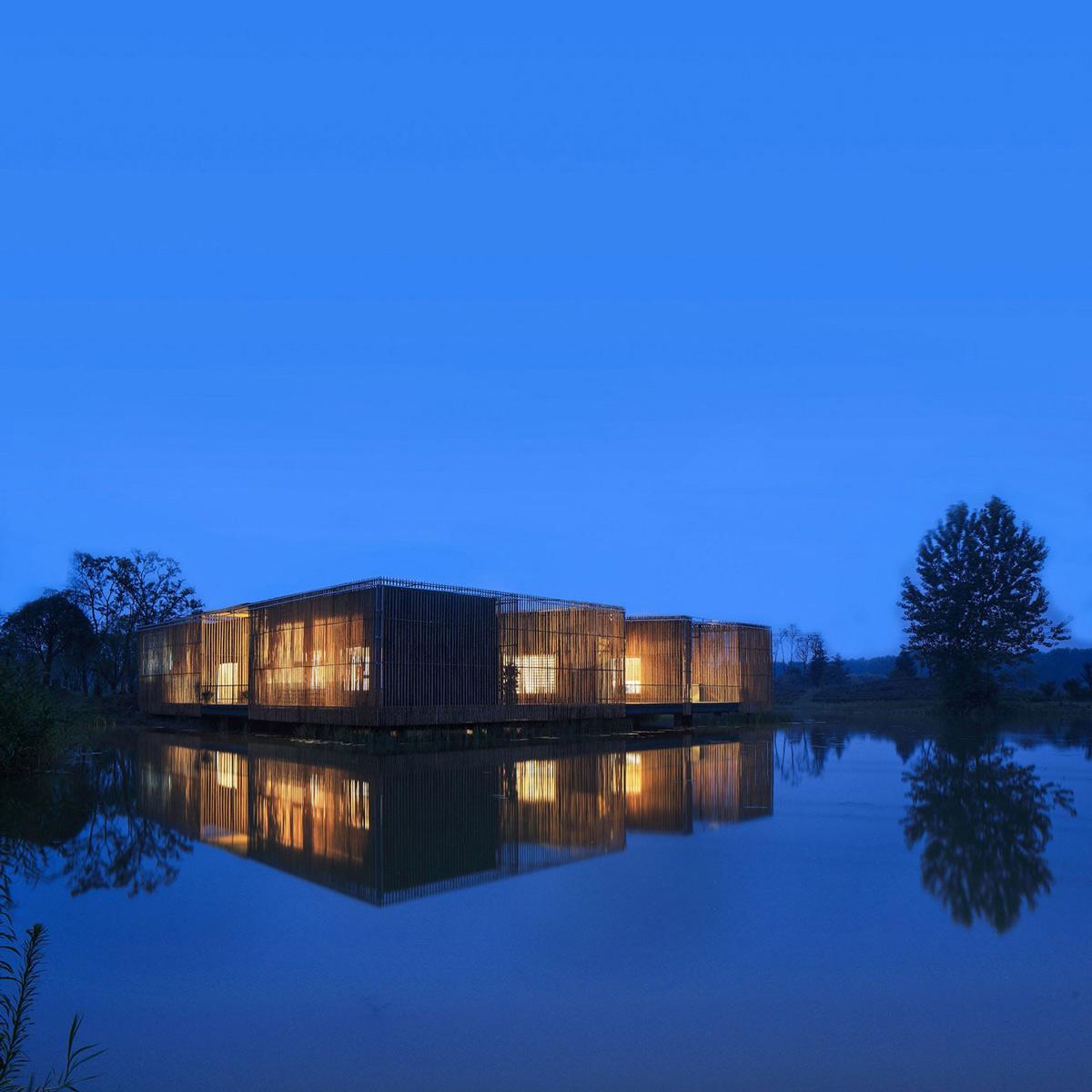 Dusk, Lake, Lighting, Floating Bamboo Courtyard Teahouse in ShiQiao, China