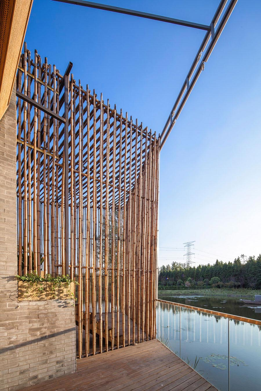 Glass Balustrading, Lake View, Floating Bamboo Courtyard Teahouse in ShiQiao, China