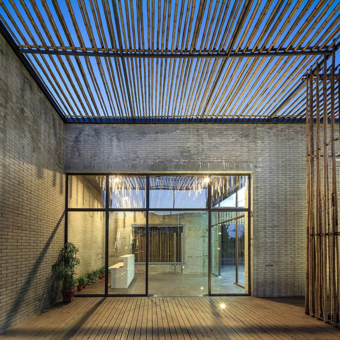 Glass Wall, Floating Bamboo Courtyard Teahouse in ShiQiao, China