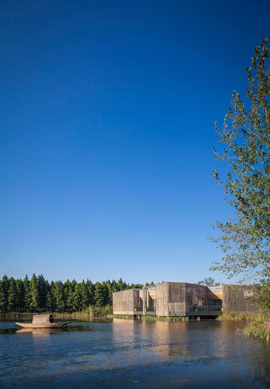 Lake, Floating Bamboo Courtyard Teahouse in ShiQiao, China