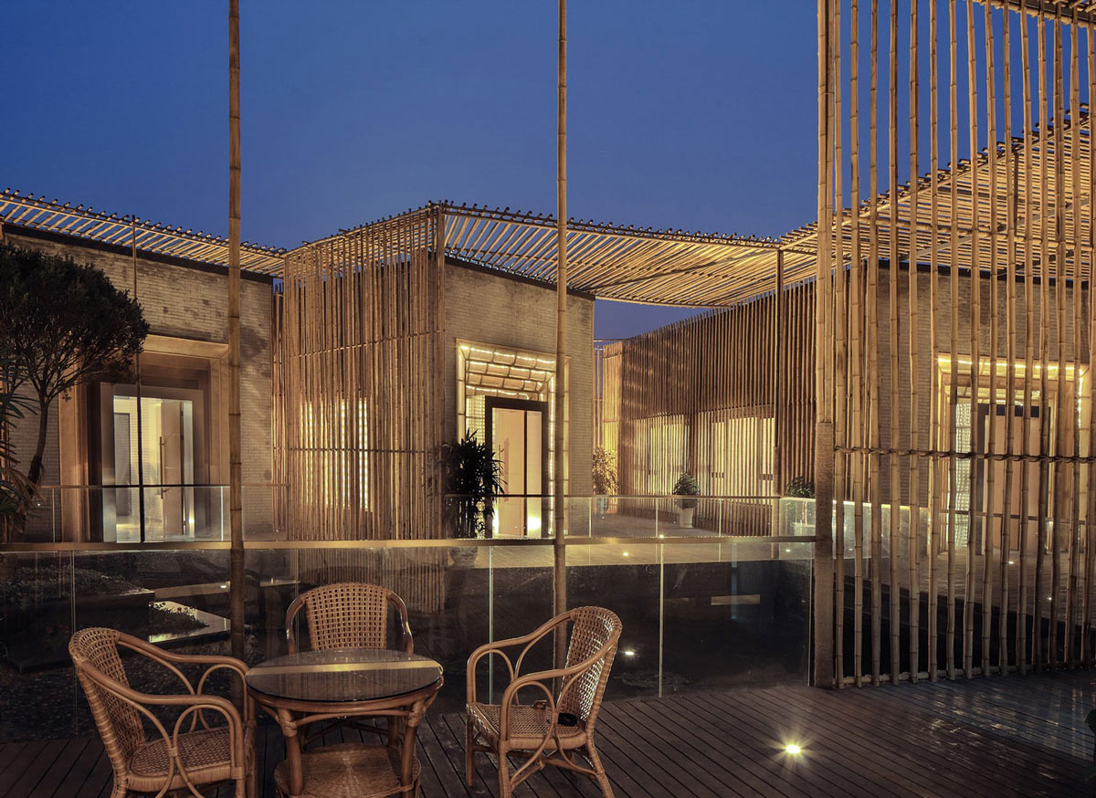 Floating Bamboo Courtyard Teahouse in ShiQiao, China