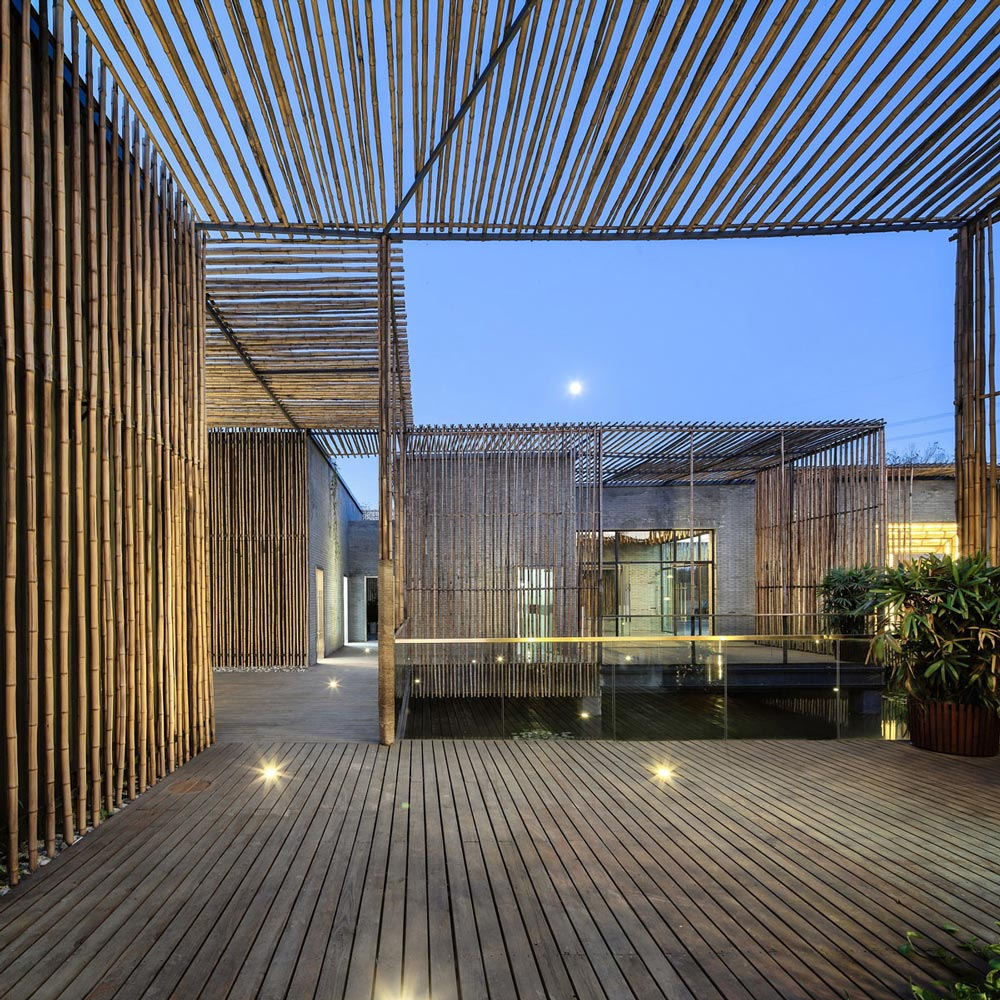 Terrace, Floor Lighting, Floating Bamboo Courtyard Teahouse in ShiQiao, China