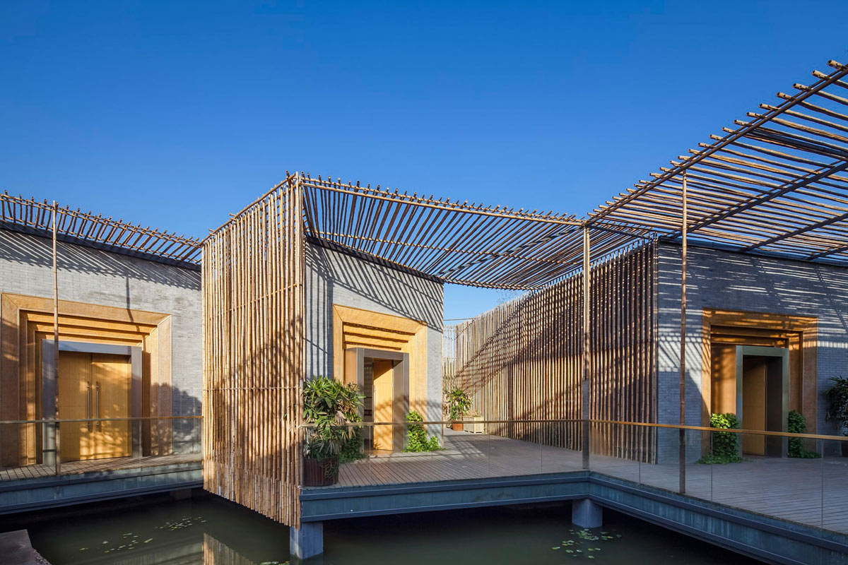 Terrace, Floating Bamboo Courtyard Teahouse in ShiQiao, China