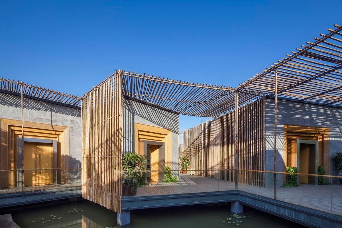 Terrace, Floating Bamboo Courtyard Teahouse in ShiQiao, China