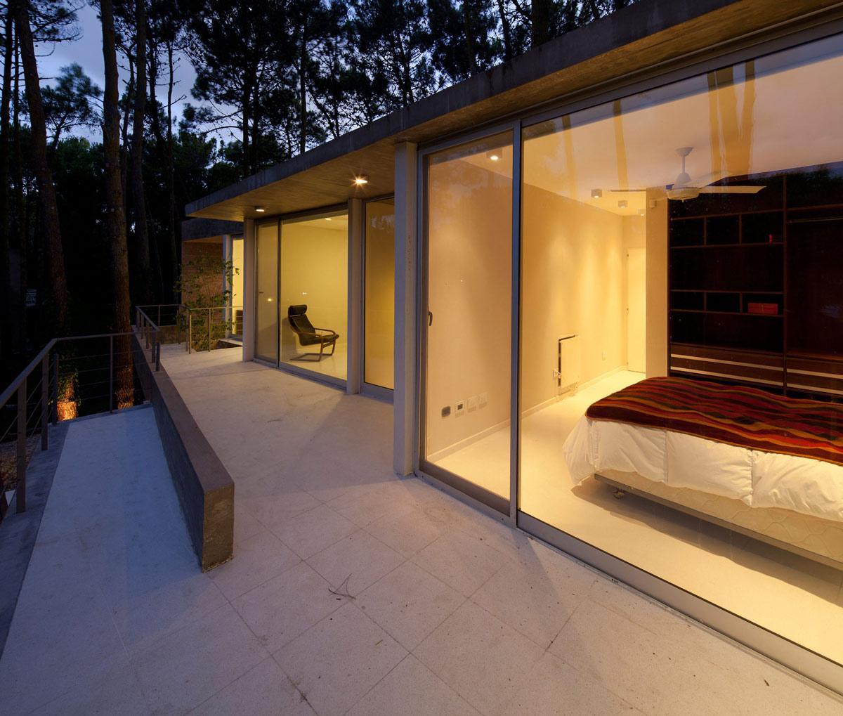 Balcony, Patio Doors, Bedroom, Modern Concrete House in Cariló, Argentina