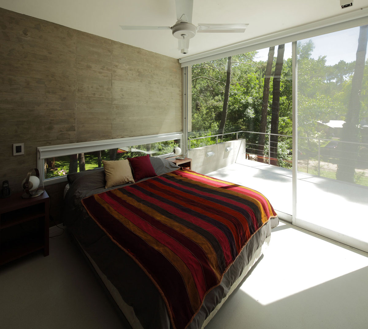 Bedroom, Balcony, Modern Concrete House in Cariló, Argentina