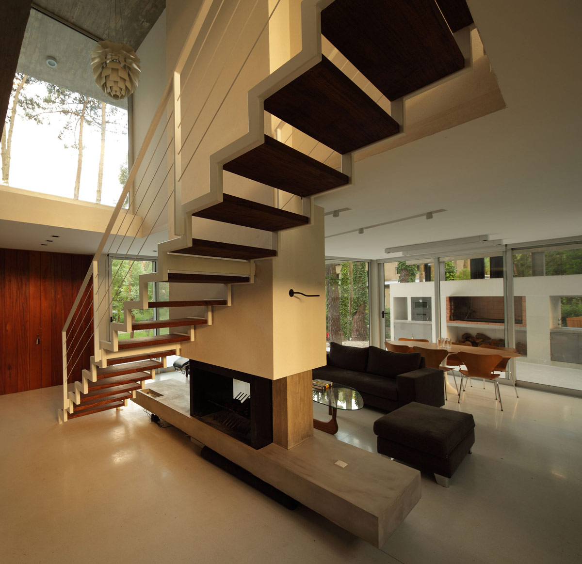 Contemporary Stairs Fireplace Modern Concrete House In Caril Argentina
