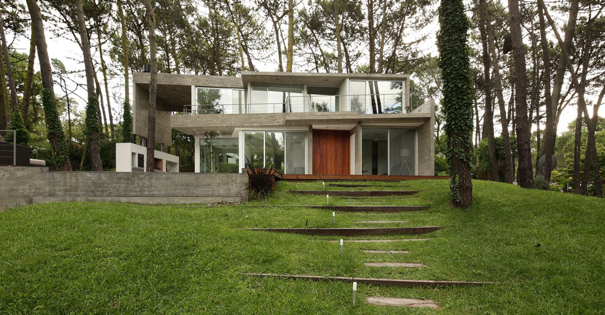 Front Garden, Modern Concrete House in Cariló, Argentina