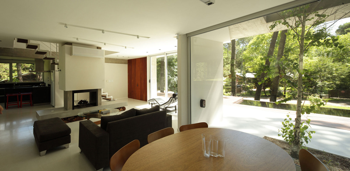 Modern Fireplace, Open Plan Living, Modern Concrete House in Cariló, Argentina