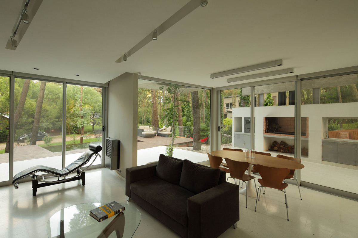 Open Plan Living, Dining, Modern Concrete House in Cariló, Argentina