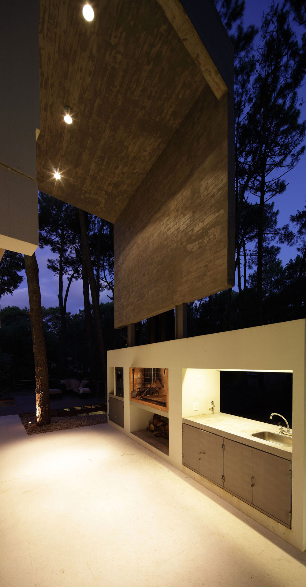 Outdoor Sink, Fireplace, Modern Concrete House in Cariló, Argentina