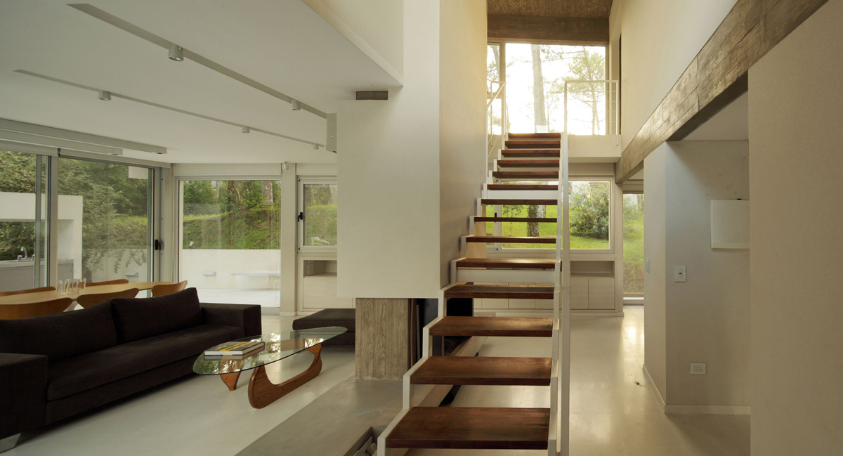 Coffee Table, Stairs, Modern Concrete House in Cariló, Argentina