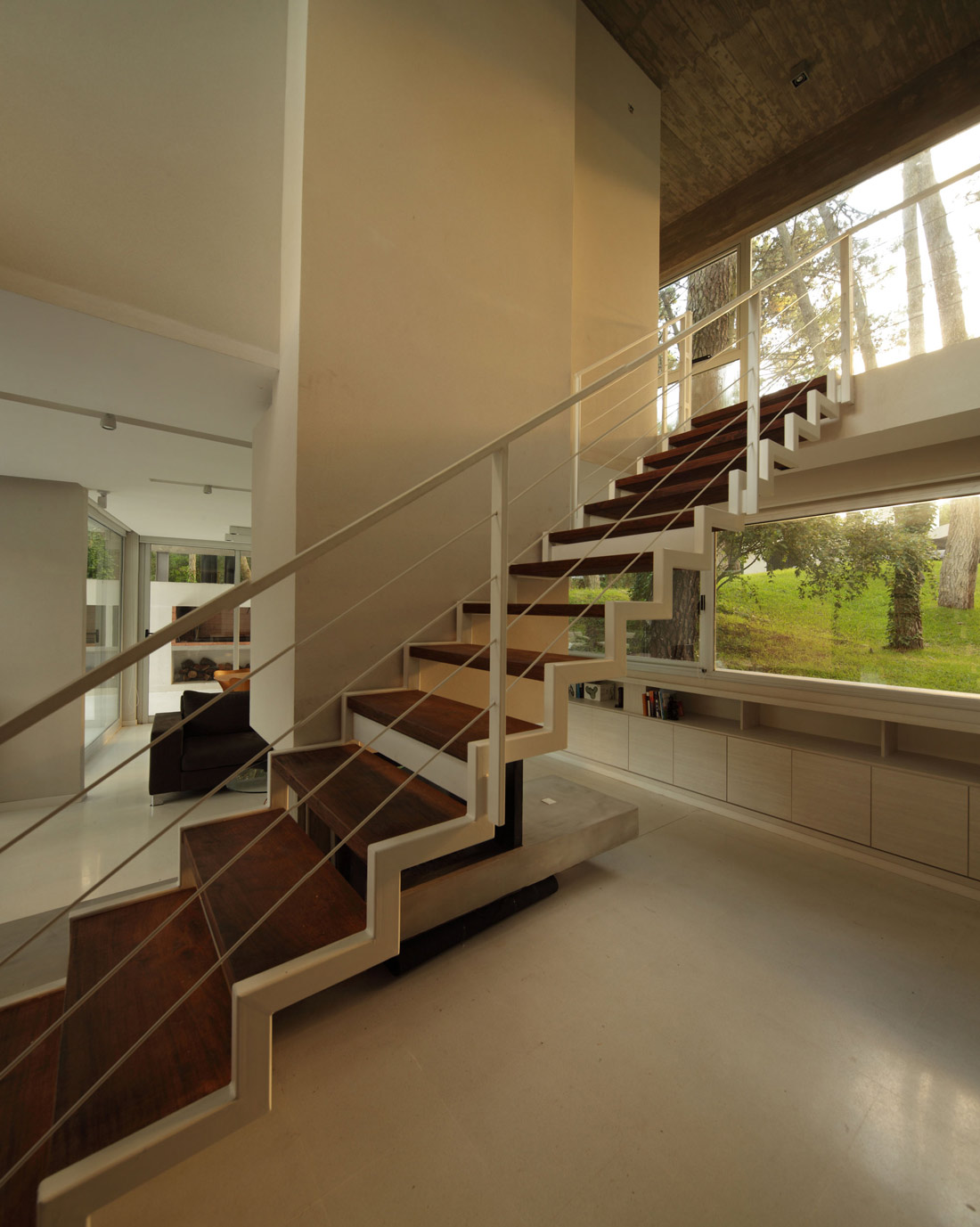 Stairs, Modern Concrete House in Cariló, Argentina