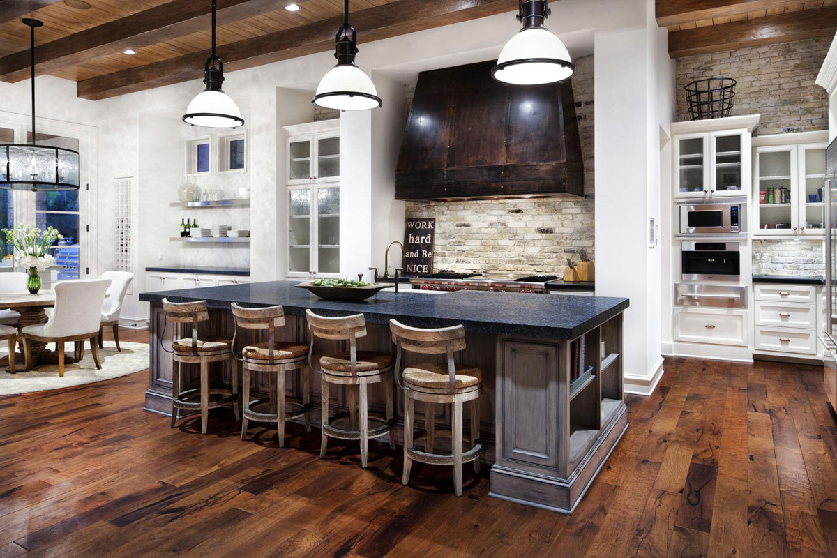 Hill country modern in austin texas by jauregui architects for Country kitchen island designs