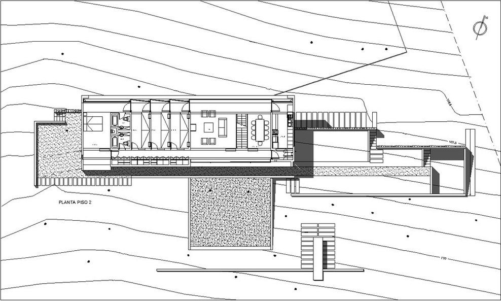 First Floor Plan, Omnibus House in Cachagua, Chile by Gubbins Arquitectos