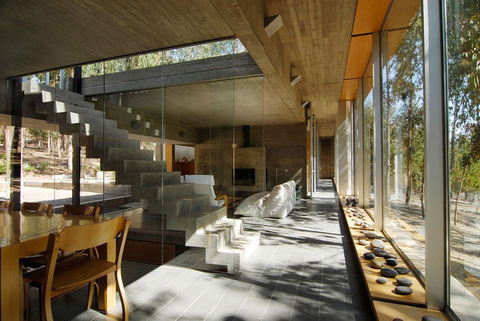 Modern Concrete & Glass Stairs, Omnibus House in Cachagua, Chile by Gubbins Arquitectos