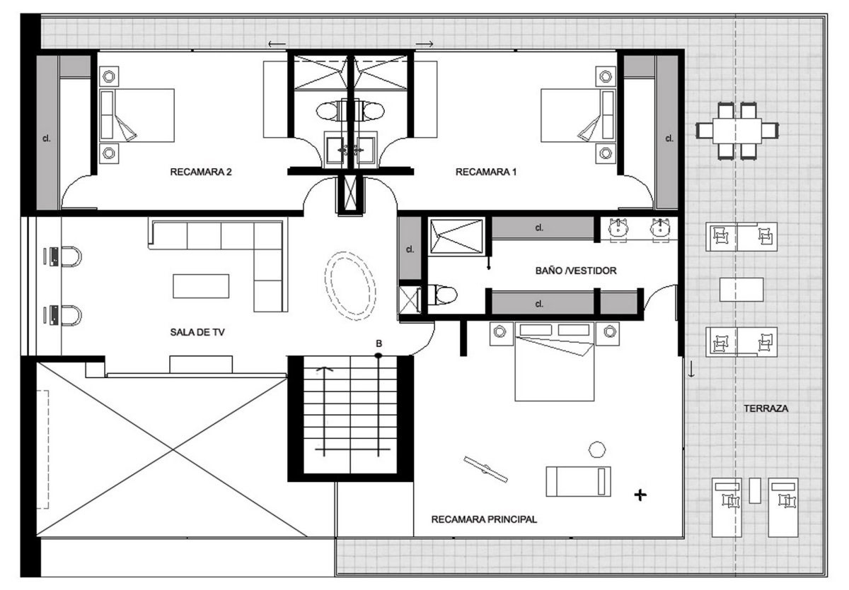 First Floor Plan, GP House in Hidalgo, Mexico by Bitar Arquitectos