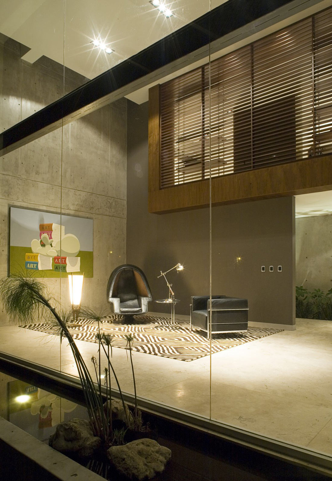 Glass Wall, Water Feature, GP House in Hidalgo, Mexico by Bitar Arquitectos