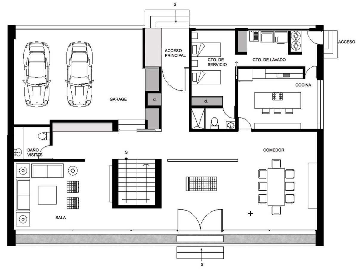 Ground floor plan gp house in hidalgo mexico by bitar Blueprint homes floor plans