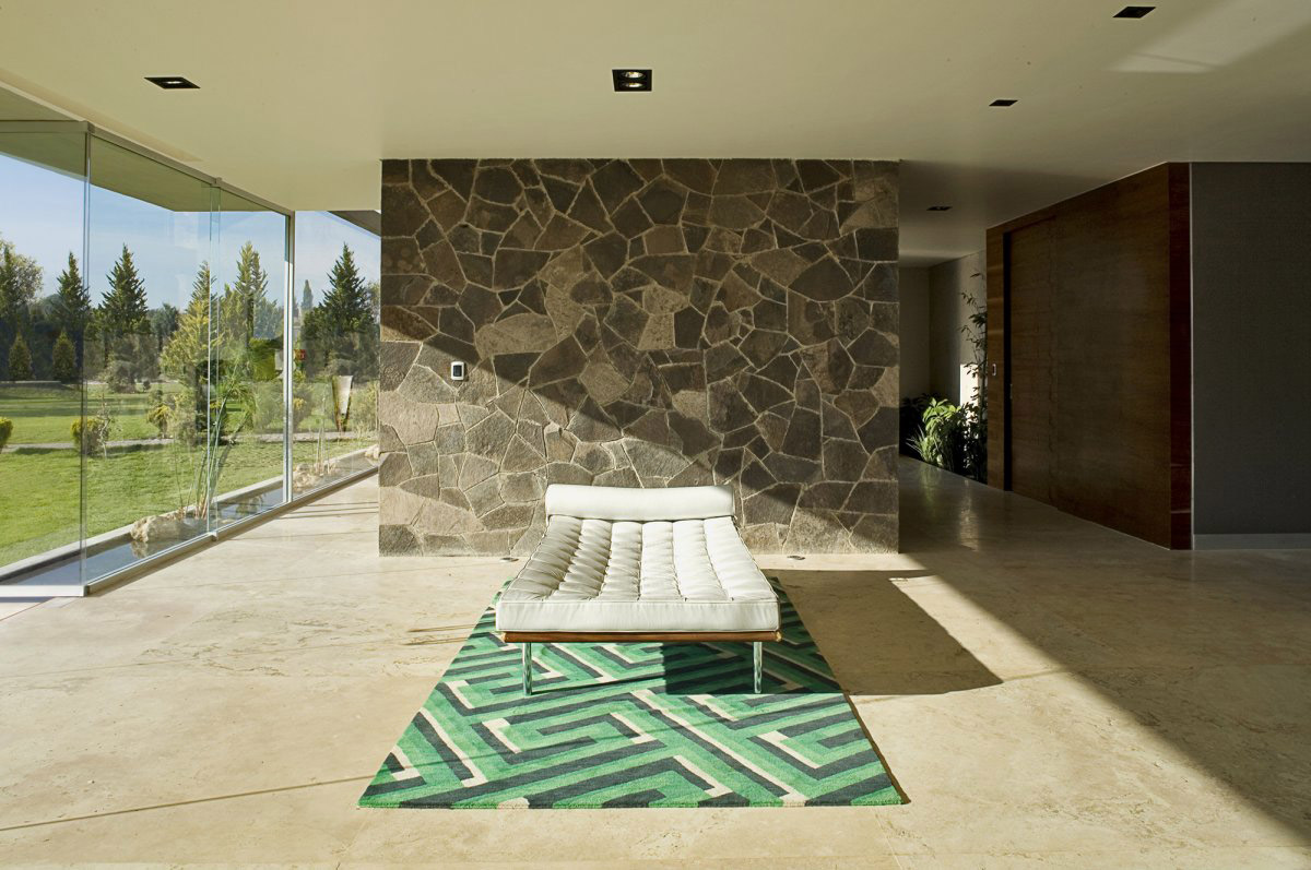Living Space, Stone Wall, GP House in Hidalgo, Mexico by Bitar Arquitectos
