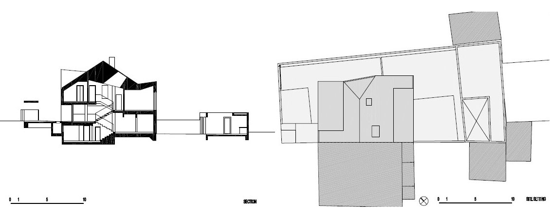 Section, Site Plan, A+A House in Zagreb, Croatia by DVA Arhitekta