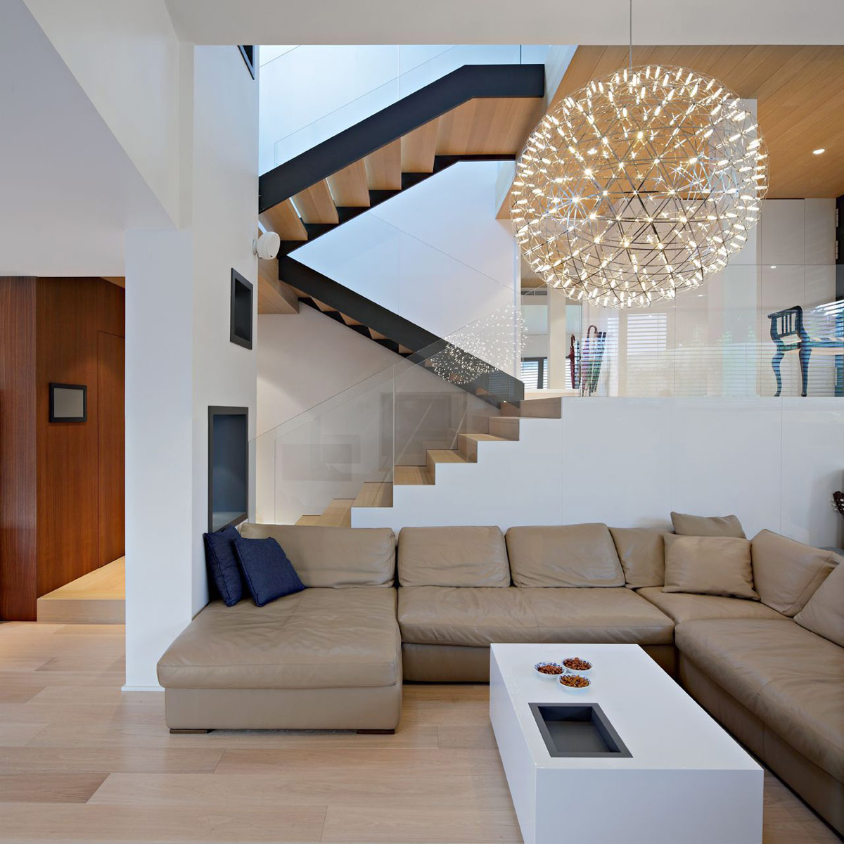 Sofa, Lighting, Stairs, A+A House in Zagreb, Croatia by DVA Arhitekta