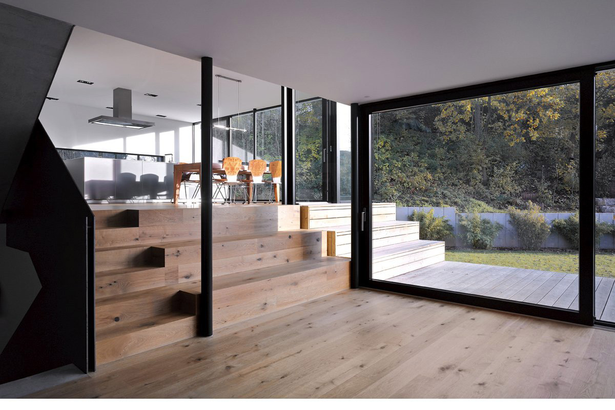 Patio Doors, Wooden Flooring, House Zochental in Aalen, Germany by Liebel Architekten BDA