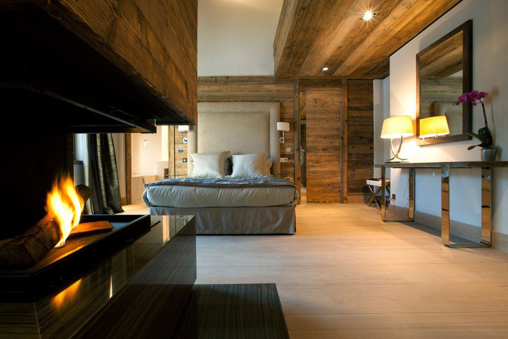 Bedroom, Fireplace, Iced Winter Apartment by Bo Design