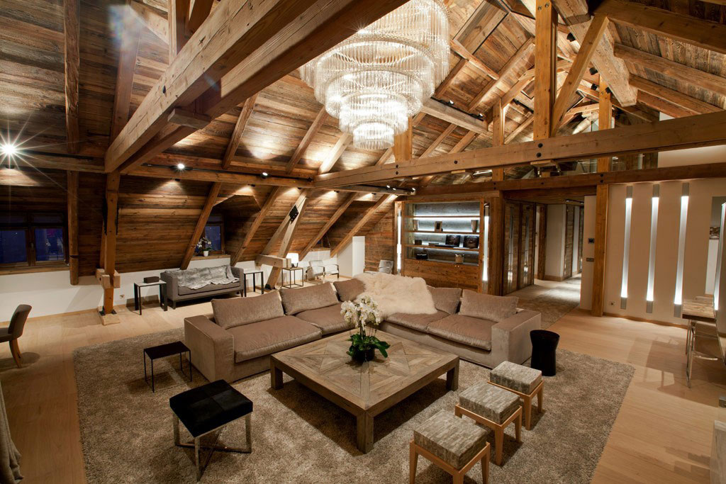 High Ceilings, Living Space, Iced Winter Apartment by Bo Design