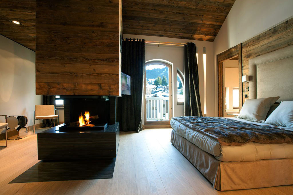 Modern Fireplace, Bedroom, Iced Winter Apartment by Bo Design