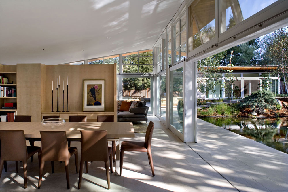 Dining Table, Patio Doors, Sustainable Retreat by the Pond in Atherton, California