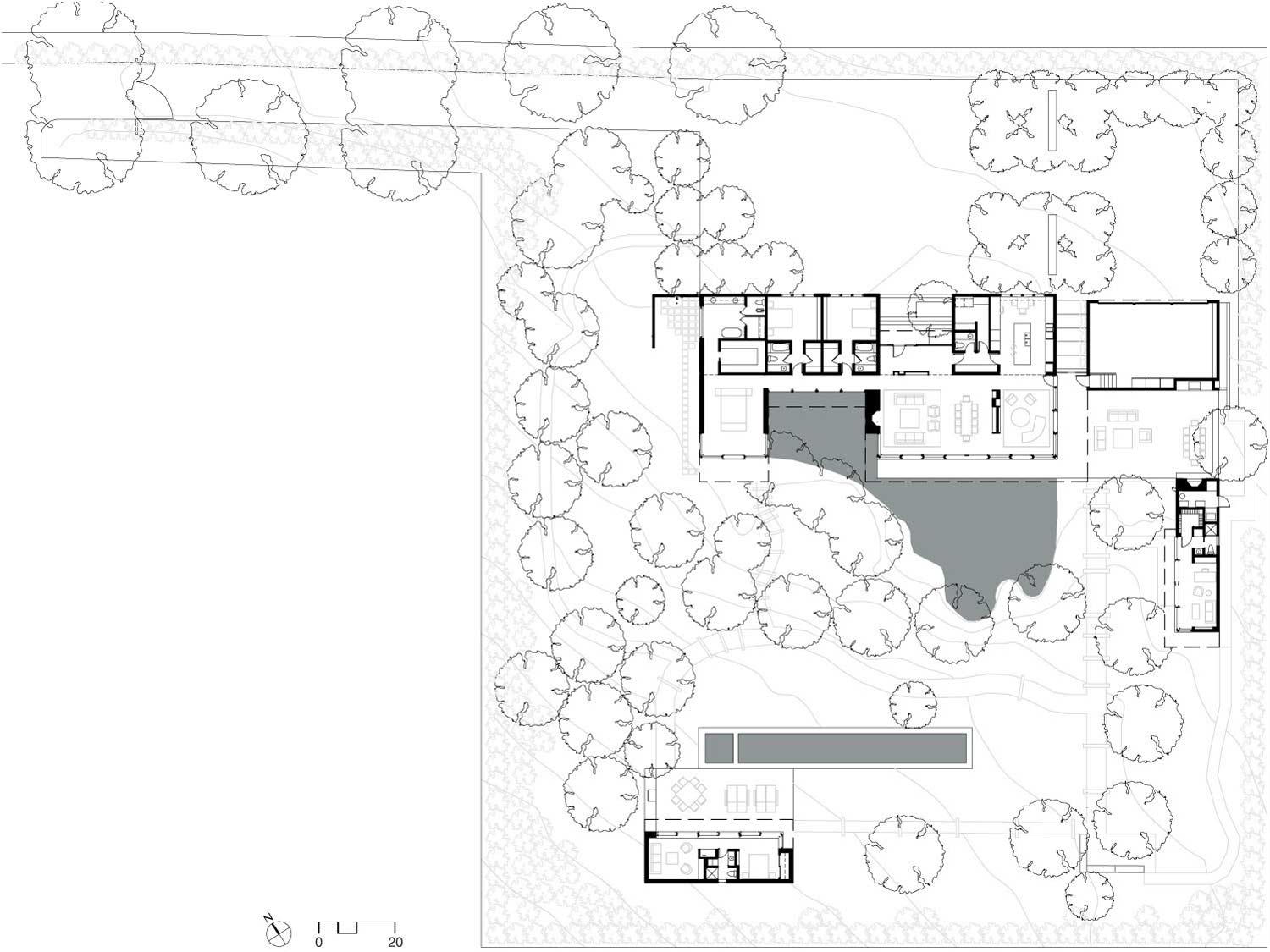 Floor Plan, Sustainable Retreat by the Pond in Atherton, California