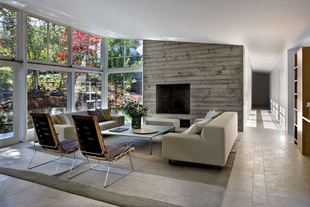 Living Space, Rug, Sofas, Sustainable Retreat by the Pond in Atherton, California