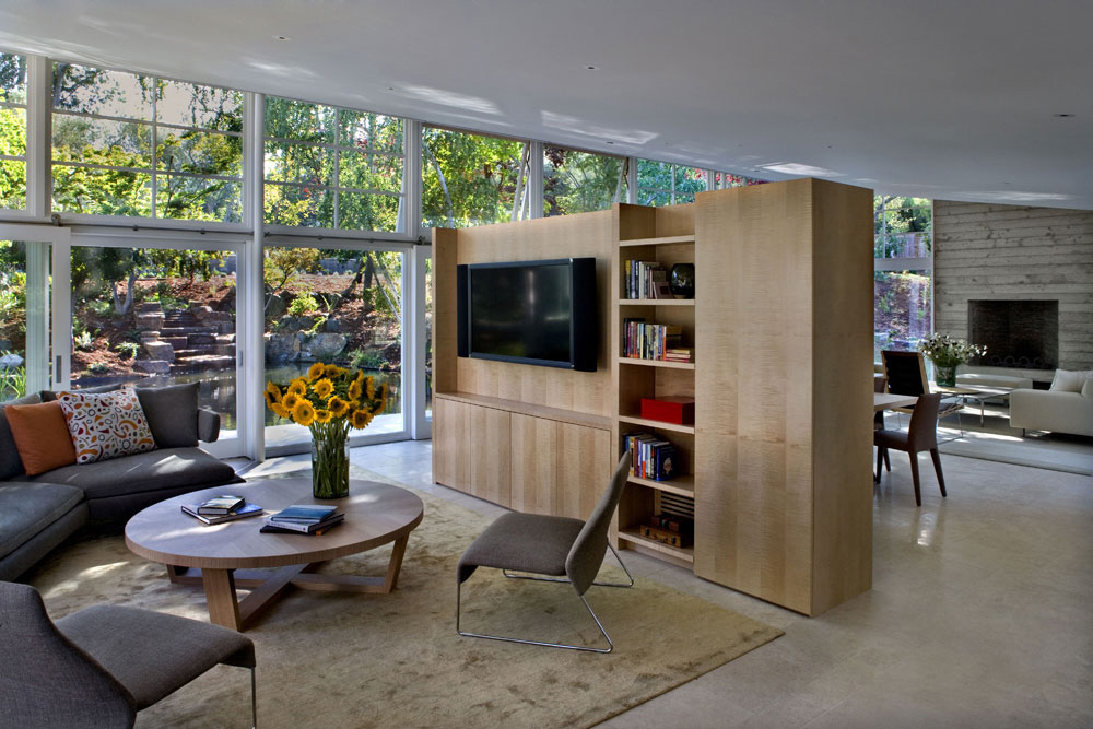 Living Space, Sustainable Retreat by the Pond in Atherton, California