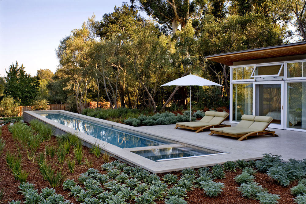Swimming Pool, Terrace, Sustainable Retreat by the Pond in Atherton, California
