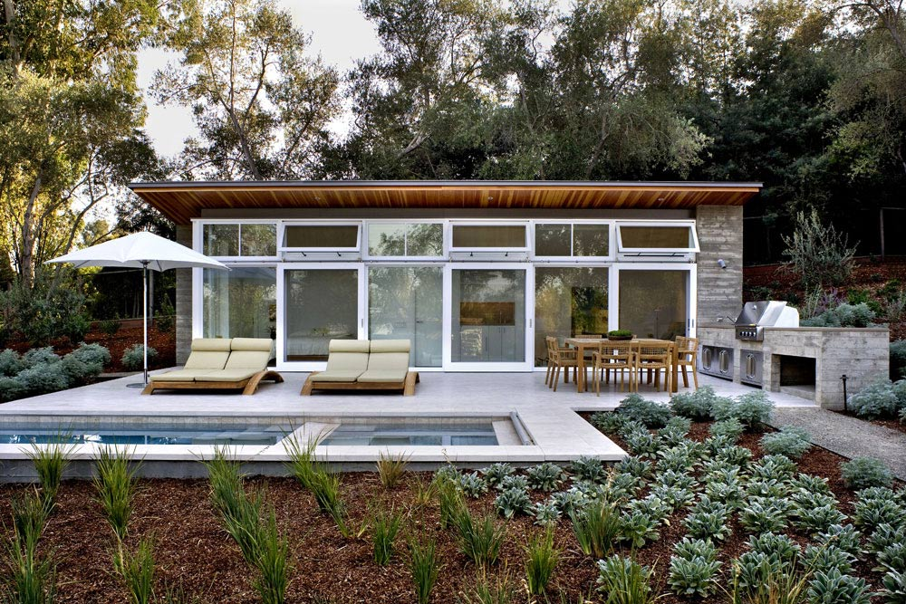 Pool House, Outdoor Kitchen, Terrace, Sustainable Retreat by the Pond in Atherton, California