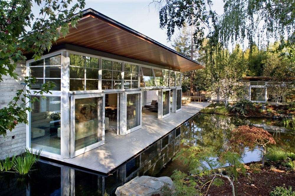 Patio Doors, Terrace, Water Feature, Sustainable Retreat by the Pond in Atherton, California