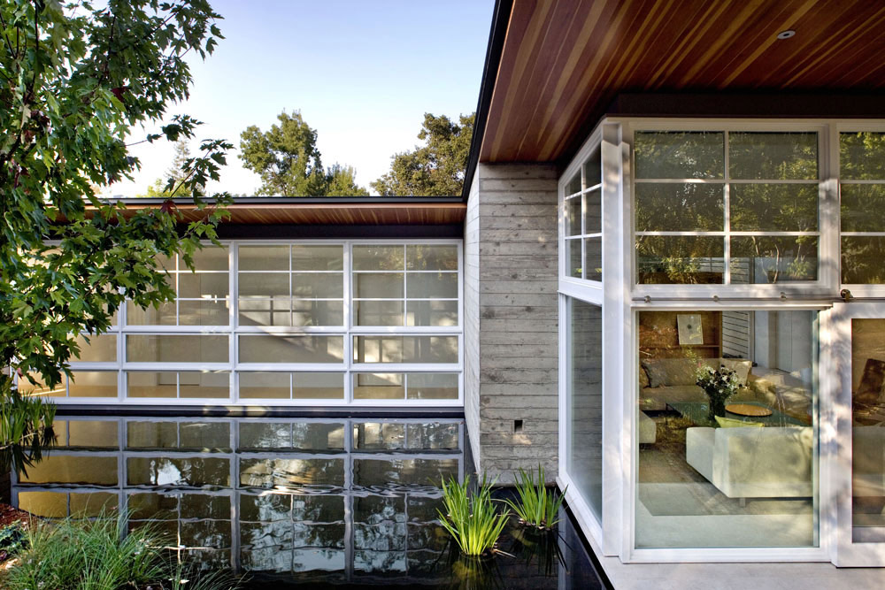 Large Windows, Water Feature, Sustainable Retreat by the Pond in Atherton, California