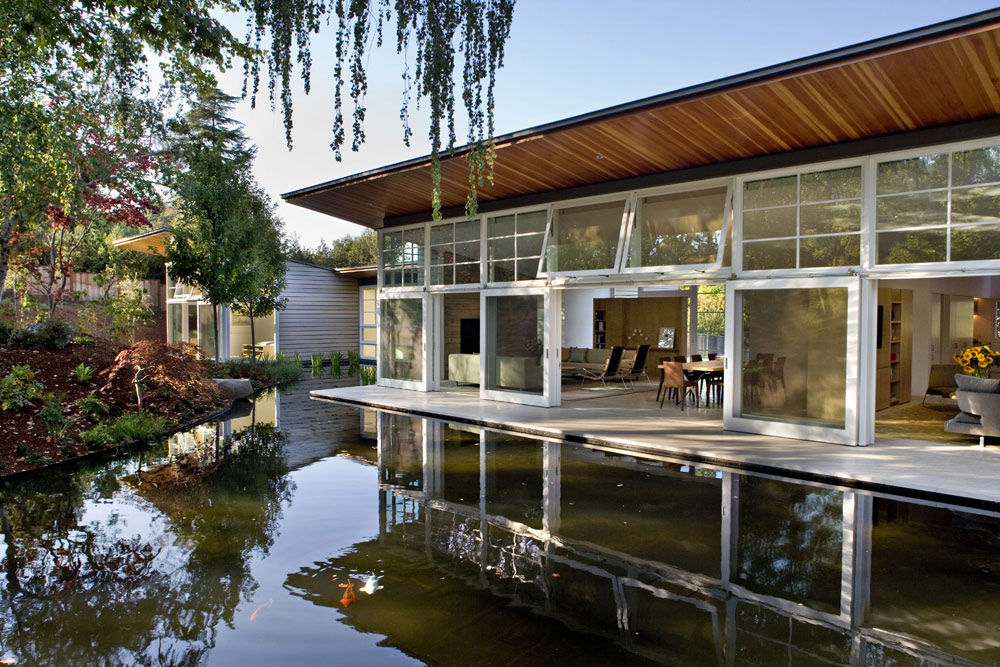 Pond, Terrace, Sustainable Retreat by the Pond in Atherton, California