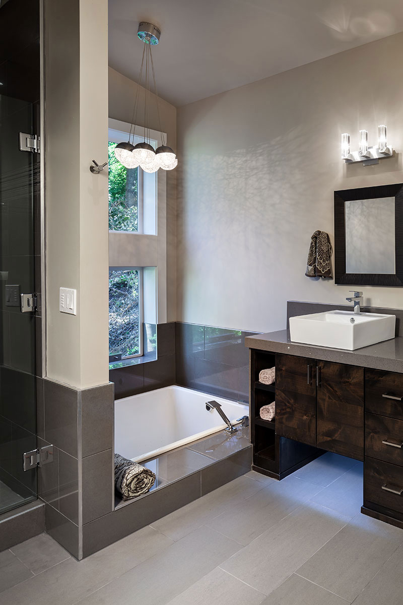 Bath, Sink, Modern Home in Eugene, Oregon by Jordan Iverson Signature Homes